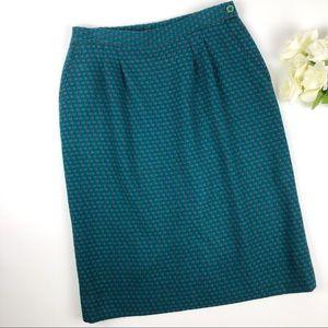 Vintage Pendleton Green Check Tweed Wool Skirt 14